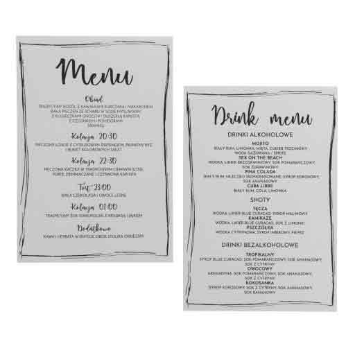 Nieczytelne menu papierowe
