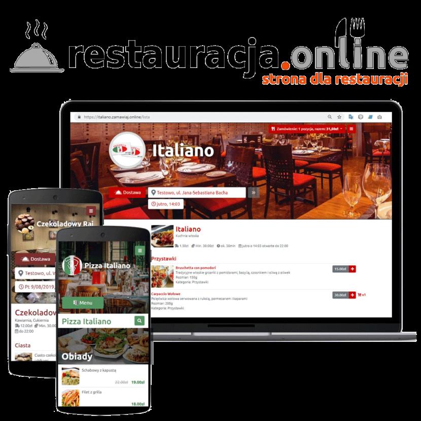 Strona dla restauracji z zamawianiem jedzenia online