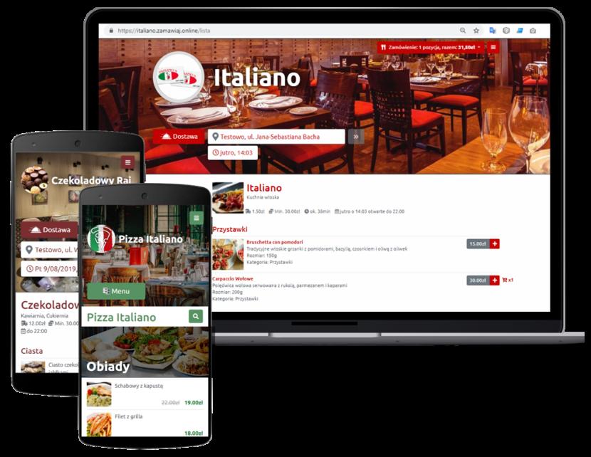Interaktywne menu restauracji na smartfonie